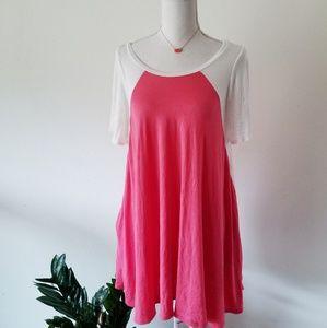 Caralase Pink Short Sleeve Raglan Swing Tunic S